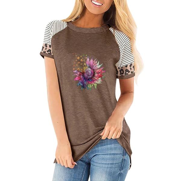 Kvinnor Casual Pullover Kortärmad T-shirt Solrosblus Toppar Coffee 3XL