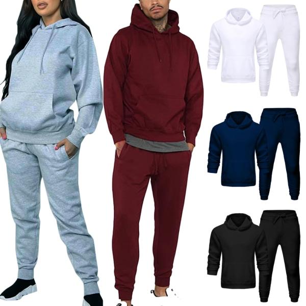 Unisex Träningsdragt Hoodie + Byxa Set Casual Jogging Loungewear White XL