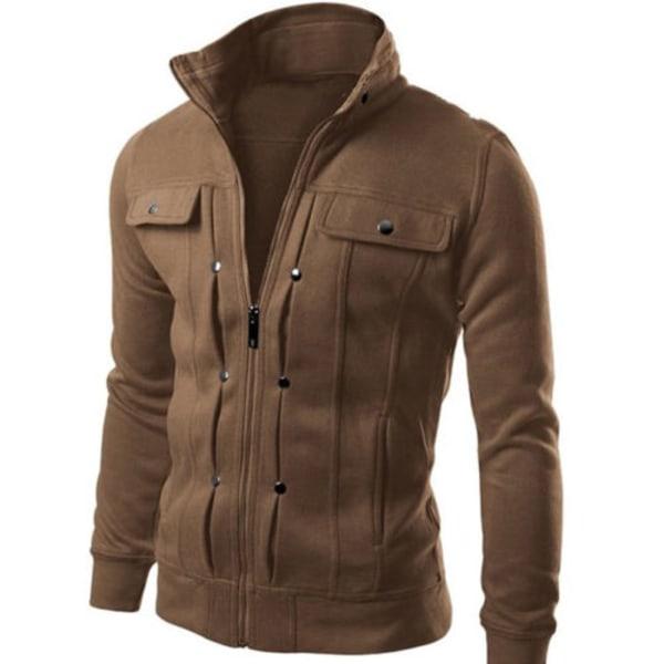 Herr Militärjacka Collared Zipper Winter Casual Outdoor Coat Coffee L