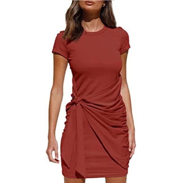 Kvinnors kortärmad t-shirt miniklänning sommar bodycon sundress Red S