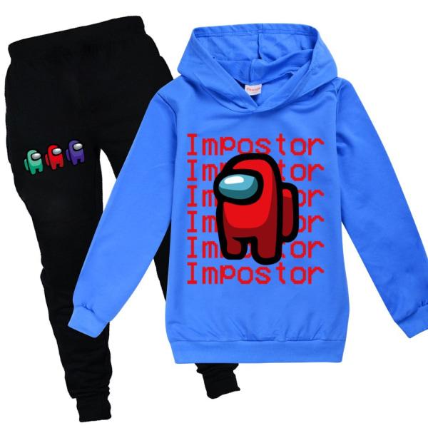 Among Us Game Impostor Set Hoodie Kids Boys Outfit Toppar Byxor Blue 130