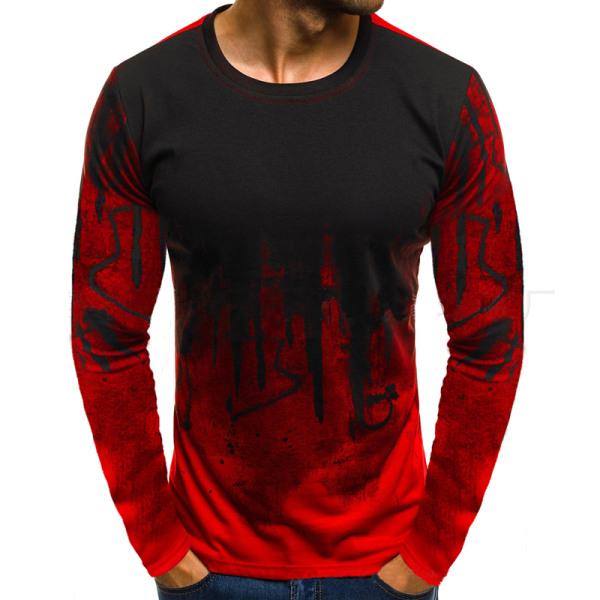 Huvtröja med luvtröja för män Mens toppar Långärmad tröja röd XL