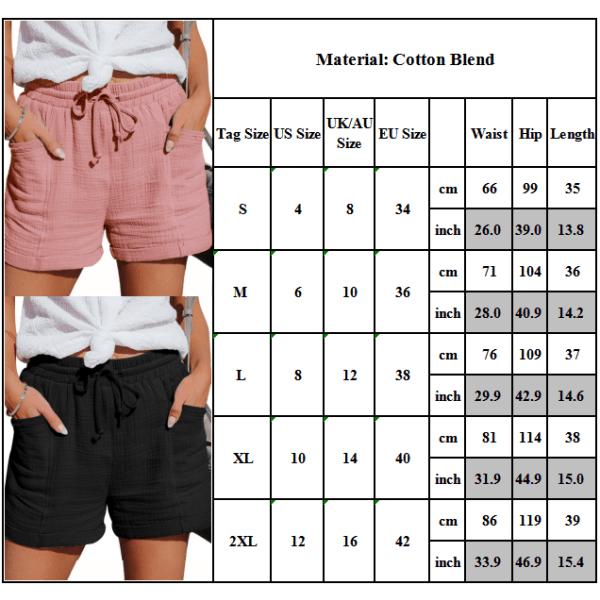 Kvinnor Solid elastiska midjefickor Heta byxor Vanliga shorts Black M