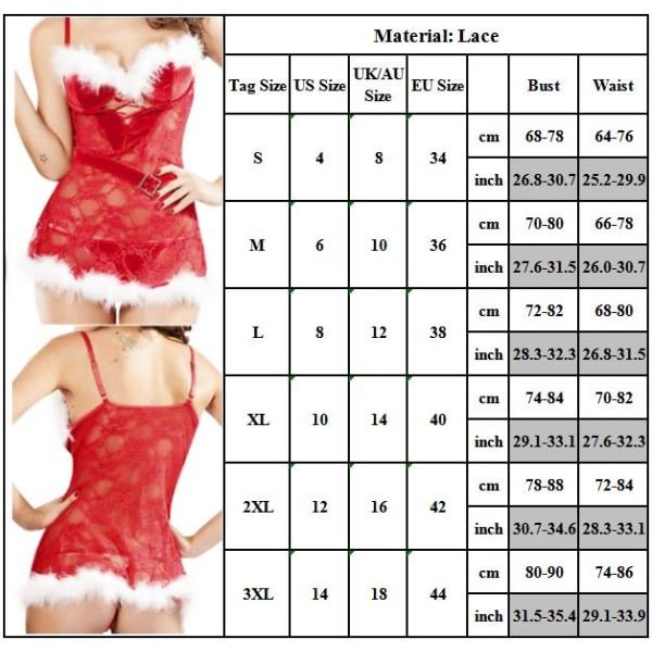 Kvinnors sexiga underkläder Erotiska Santa Cosplay Babydoll L