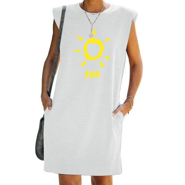 Kvinnor Tunika Shift T-Shirt Väst Tank Klänning Ärmlös Sundress White 2XL