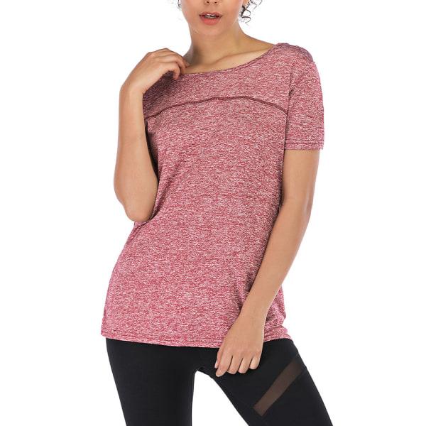 Kvinnor kortärmad yogaträningströja Tröjor T-shirttröja Red M