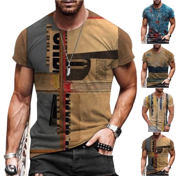 Herr Vintage kortärmad T-shirtblus Sommar Casual Toppar # 3 S