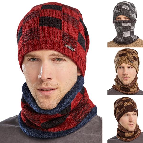 Mössa för män Mössa + Scarf Neck Snood Warm Set Winter Ski Caps Dark Cyan
