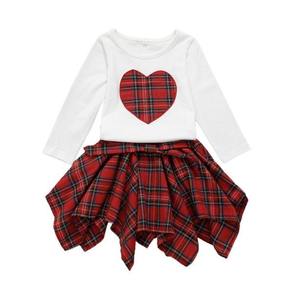 Småbarn Flickor Långärmad T-shirt Toppar Kjolkläder Set White 80