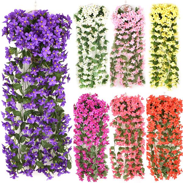 Konstgjorda Falska Violetta Blommor Hängande Ivy Plants Decor White 2 PCS