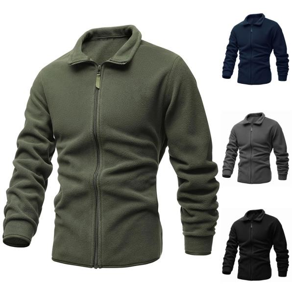 Enfärgad stickad kofta tröja med dragkedja för män Gray M