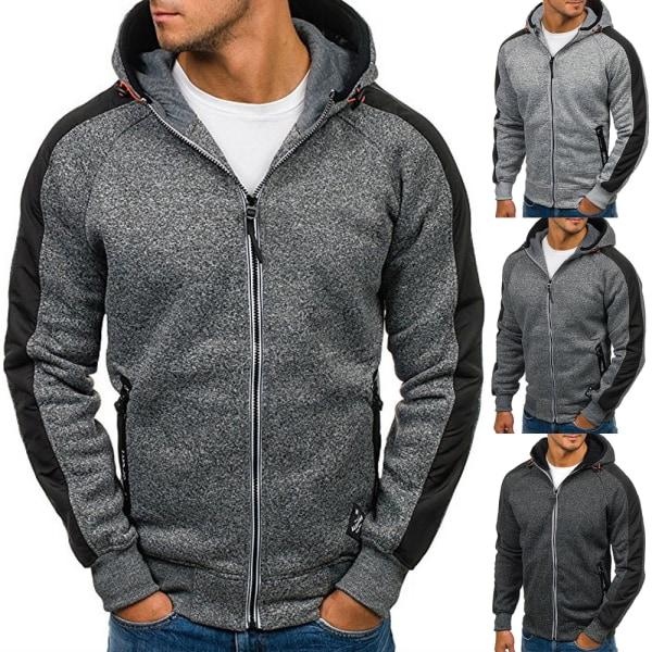 Vinterfärgad jacka med full blixtlås för män Light gray with navy blue XL