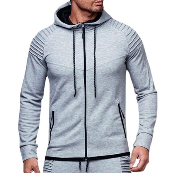 Herr Sports Gym Hoodie Hooded Dragkedja Full Zip Jacket Coat Light Grey L
