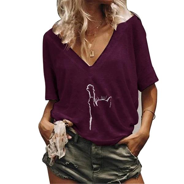Kvinnor V-ringad kattblommig kortärmad topp T-shirtblus T-shirt Purple - Red 3XL