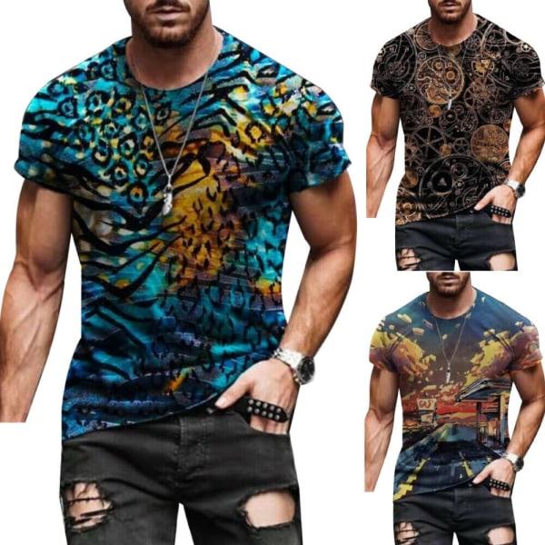 Mens Sommarferie Casual Toppar Geometri Kortärmad T-shirt Blue S