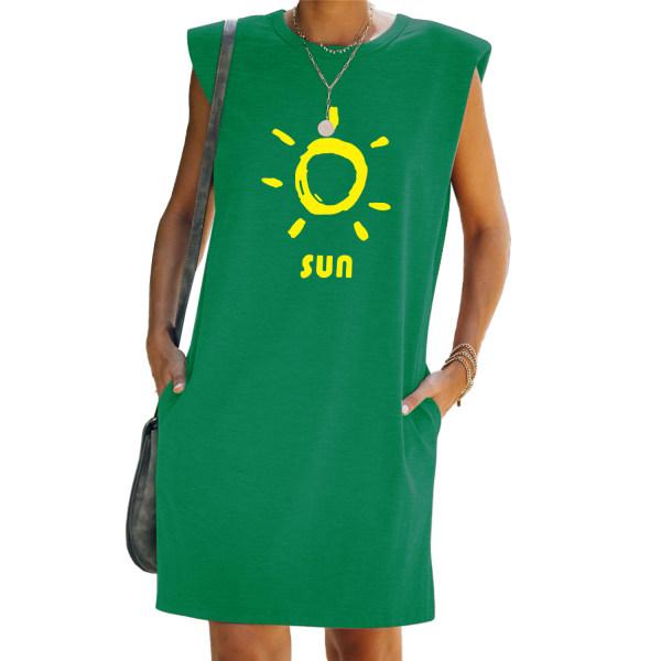Kvinnor Tunika Shift T-Shirt Väst Tank Klänning Ärmlös Sundress Green L