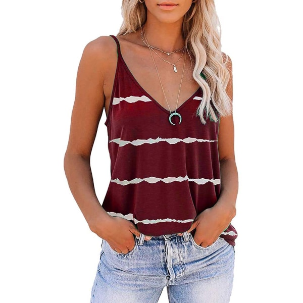 Ladies Summer V-Neck Striped Loose Tank Tops Blouse Holiday Wine Red M