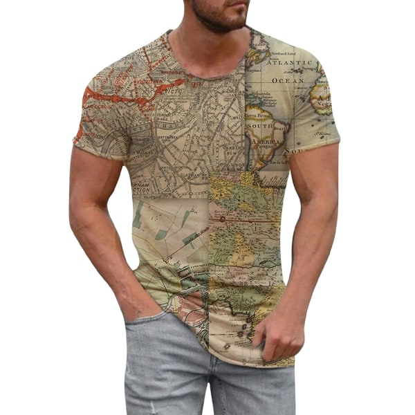 Herr Map Holiday Kortärmad T-shirt Sommar Casual Blus Khaki XL