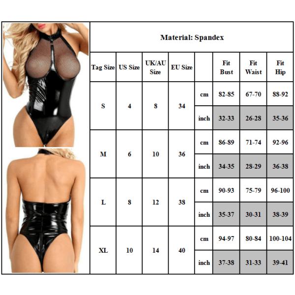Dam Backless Sleepwear Fishnet Bodysuit Underkläder M