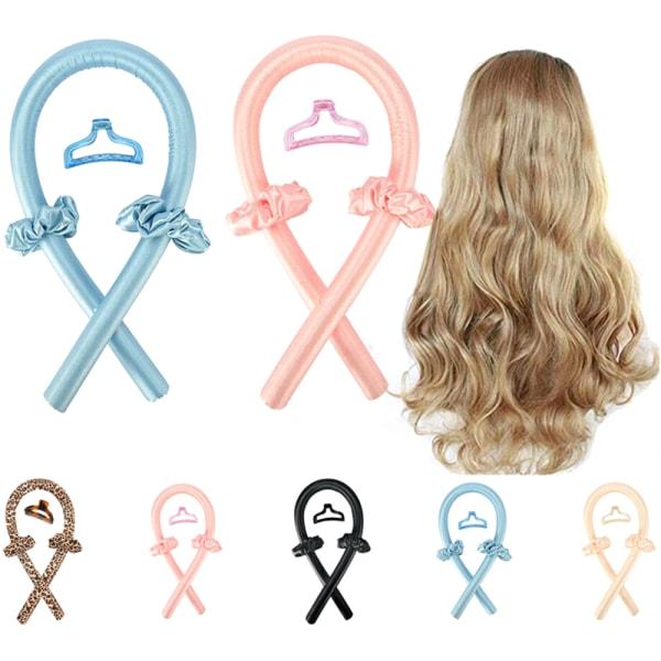 Kvinnor Silk Ribbon Hair Curler Heatless Curling Headband Pink