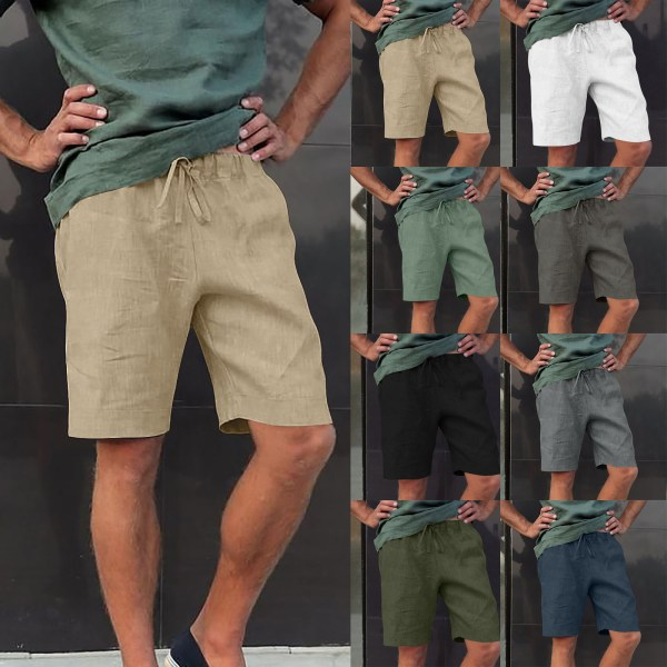 Mens elastiska midja shorts Casual shorts Combat arbetsbyxor Khaki L