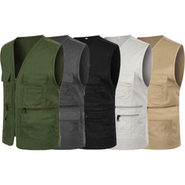 Herr Multi Pocket Vest Traveler Photography Jacket Coat Top Dark Grey XL