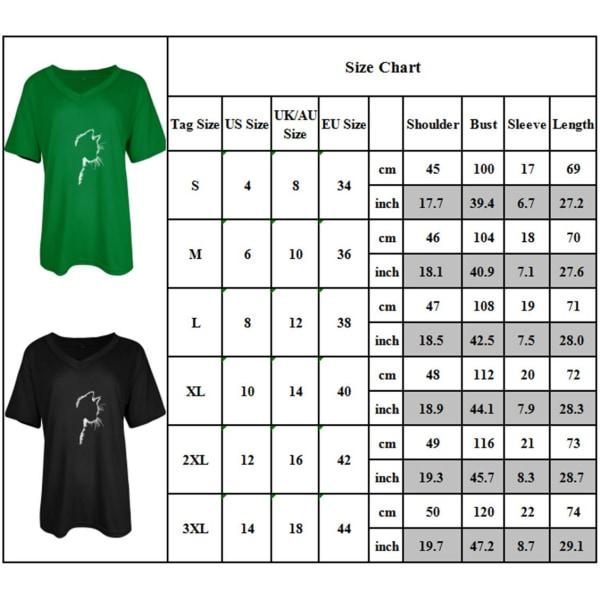 Kvinnor Katt Print Sommar Kortärmad Blus Toppar Casual T-shirts Black M