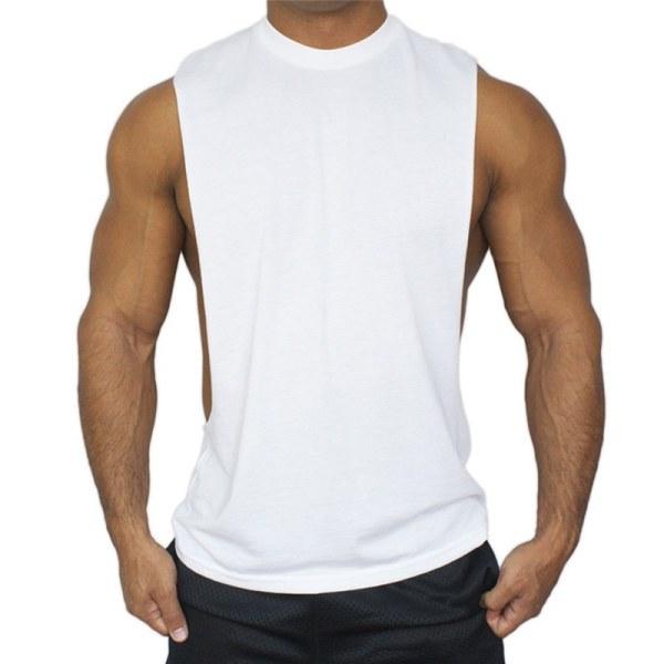 Ärmlös sportväst för män Casual Gym T-Shirts Toppar Vit XL
