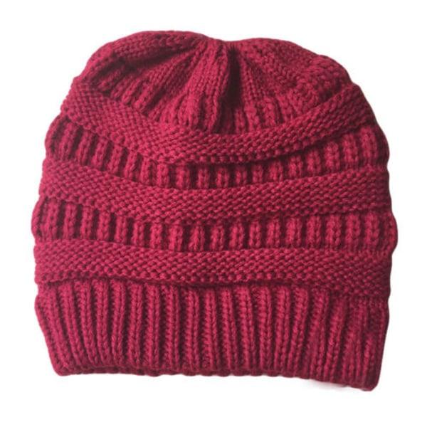 Dam Winter Warmer Stickad Mössa Crochet Messy Hat Red