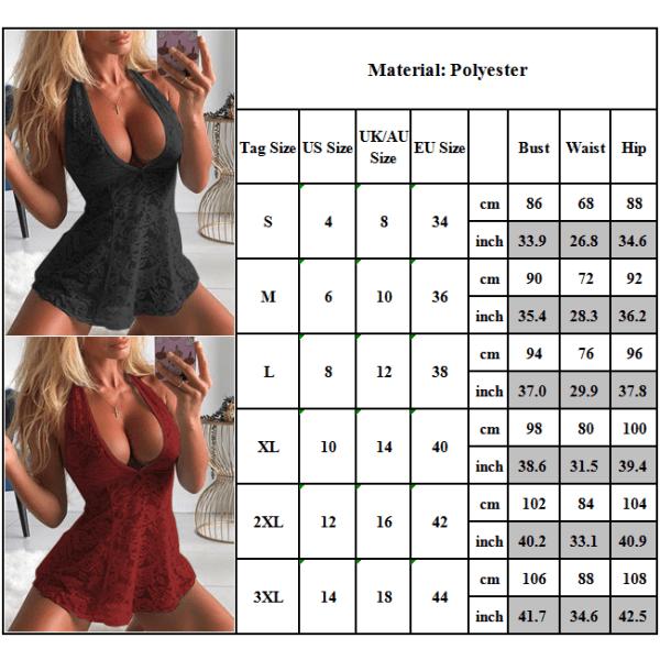 Damunderkläder Mini Klänning G-String Set Babydoll Nightwear Röd S