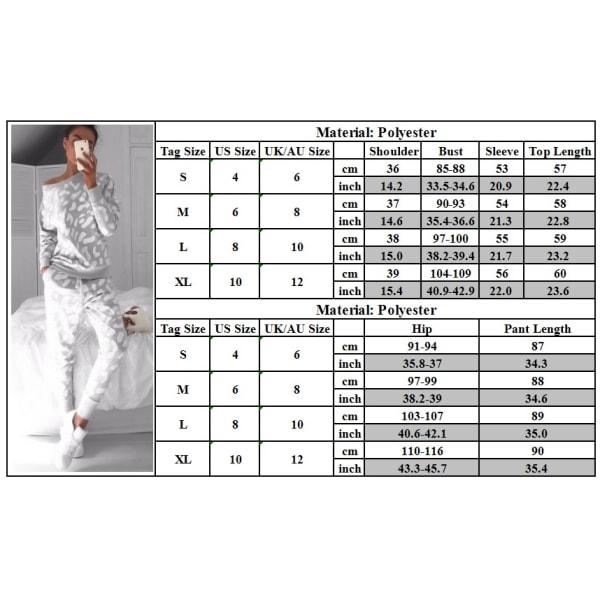 Grå Zebra Print Mode Träningsoverall Hemkläder Grey S