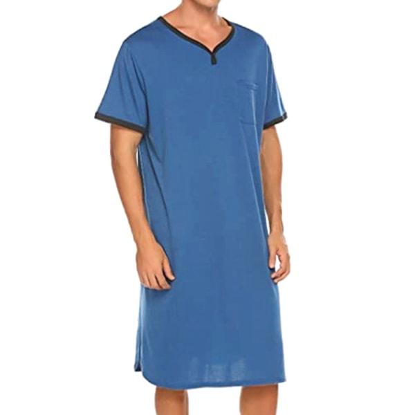 Herr Nattkläder Casual Pyjamas Bekväma Pyjama Solid Nattkläder Blue 2XL