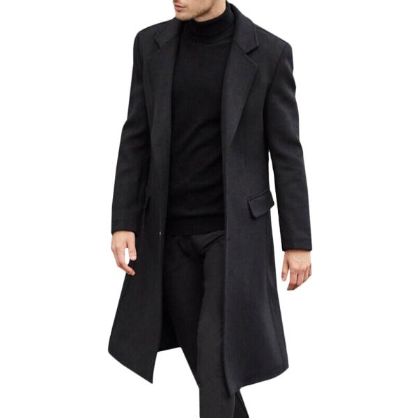 Herrjacka lång trenchcoat herr Trenchcoat enkelbröst Black XL