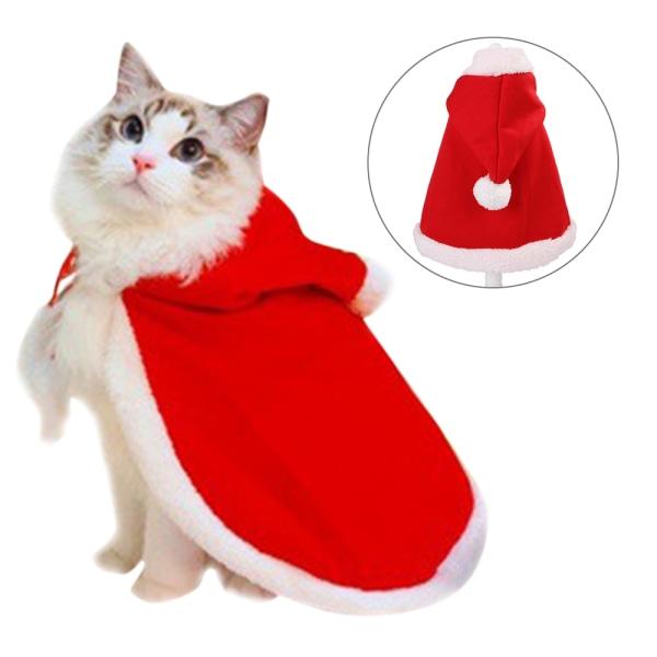 Jul söt hundvalp Santa Hooded Coat kläder husdjur S