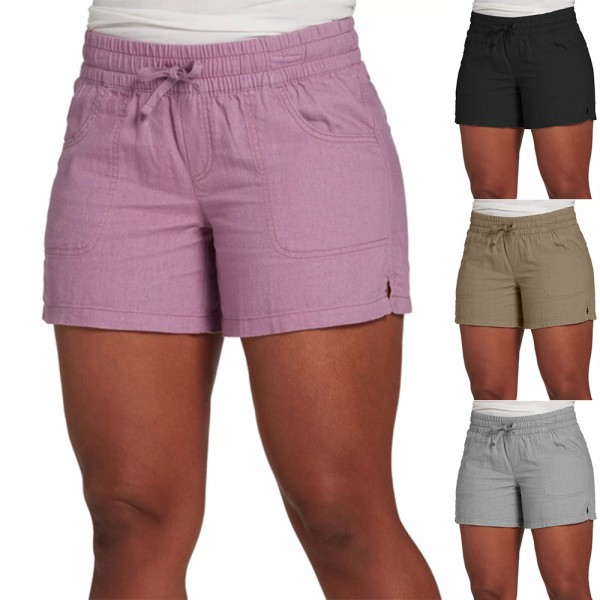 Kvinnor semester Slim Hot Pant Casual Party elastiska bekväma shorts Khaki S