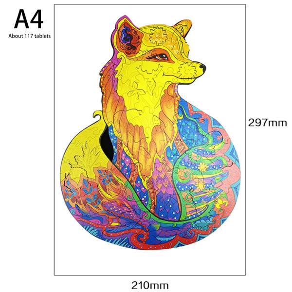 Unidragon pussel i trä Unik form lockande rävgåva Fox A4
