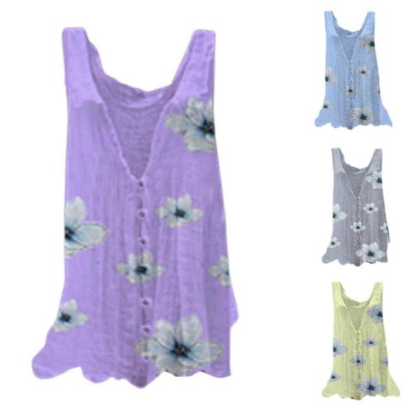 Kvinnor V-hals blommig ärmlös klänning Sommar Casual sundress Blue L