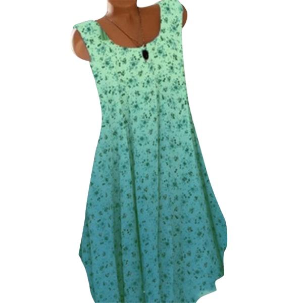 Kvinnors sommar ärmlös blommig klänning Gradient Swing Holiday Light Blue XL