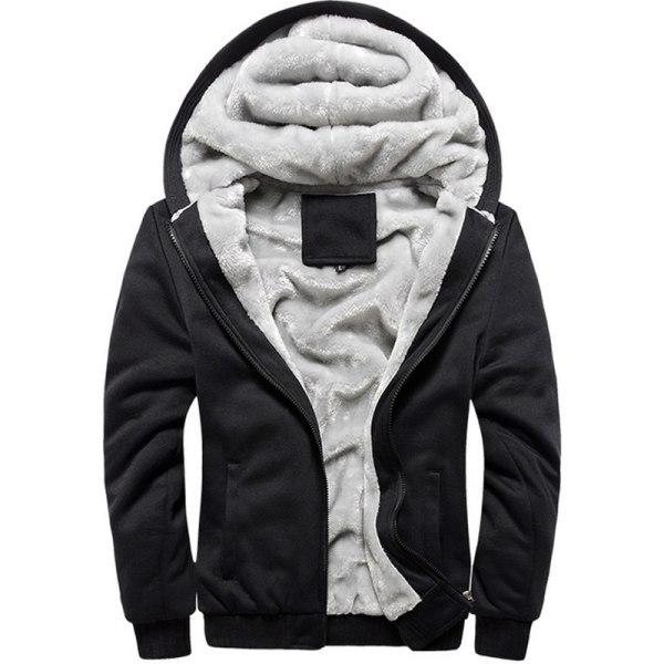 Herr tjock topp fleece päls fodrad varm vinter jacka Black 2XL