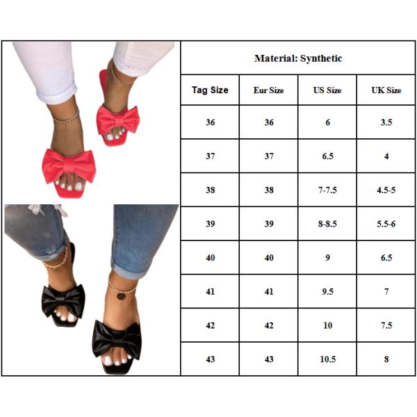 Kvinnor Mules Slip On Sandaler Bow Summer Comfy Skor Vit White 42