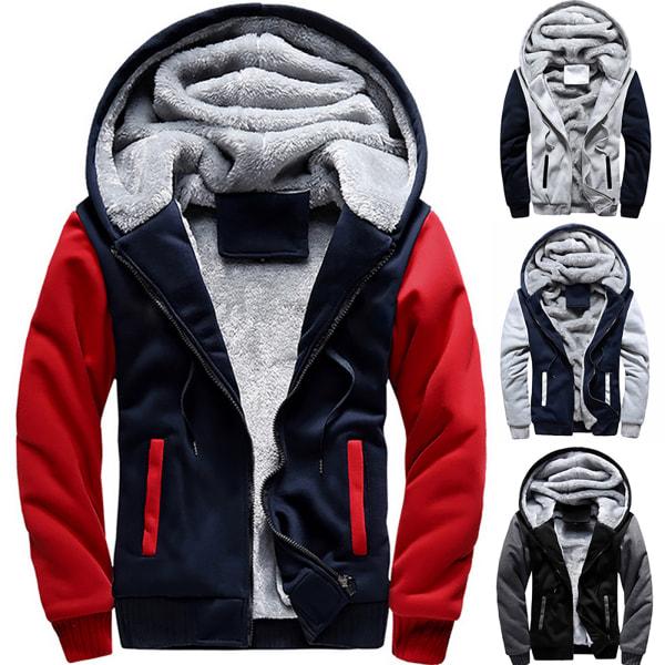 Man Winter Warm Sherpa Fleece Hoodie Coat Jacket Outwear Black & Grey M