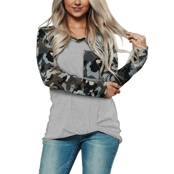 Kvinnor Långärmad kamouflage Army T-Shirts Höstblus Casual Light Gray 3XL