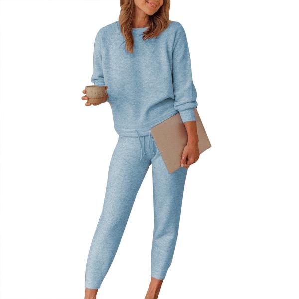 Dam Plain Lounge Wear Set 2 PCS Träningsoveraller ärmkläder Blue L