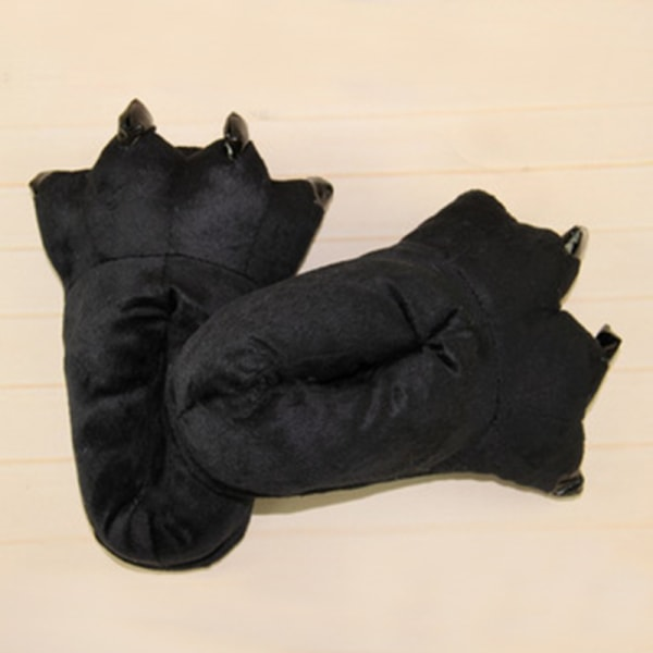 Vuxna barn djur monster fötter tofflor plysch skor svart L(Adult)