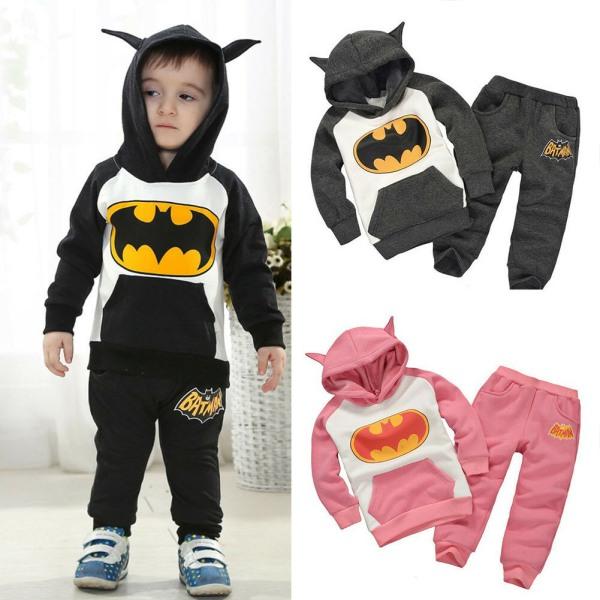 Kids Boys Girl Batman Sweatshirt Toppar Byxor Träningsdräkt Grå Black 90