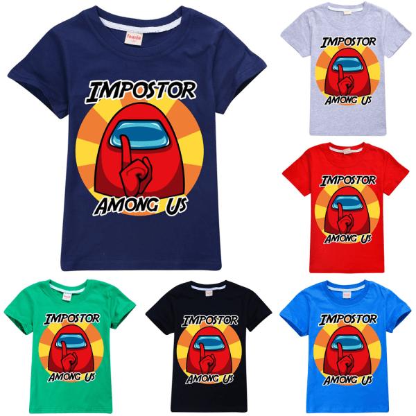 Among Us Impostor Sssshhhh Youth T-Shirt Game Crewmate Kids Tee Navy Blue 100cm
