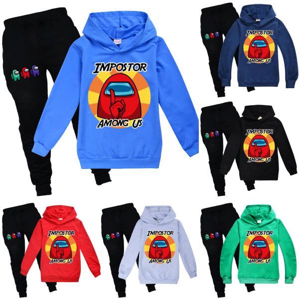 Among Us Kids Baby Boys Girl Hooded Hoodie Tracksuit Pants Set Black 140