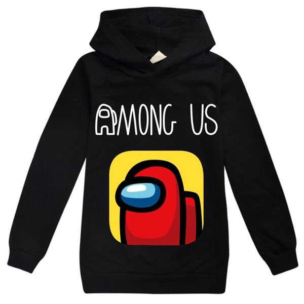 Among Us Printed Child Hoodie Rolig tröja Cartoon Pullover Black 140cm