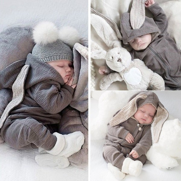 Härlig söt baby kaninöron bomull huva Grey 59 cm