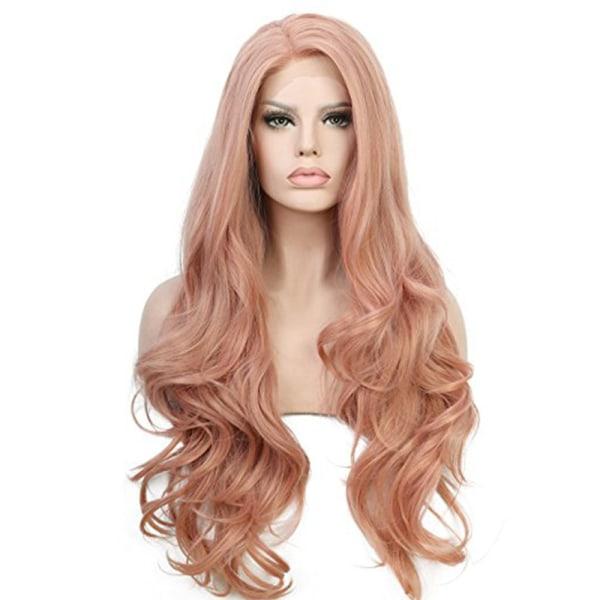 Kvinnor flickor söt långt lockigt hår peruk stift lockigt hår Rosa